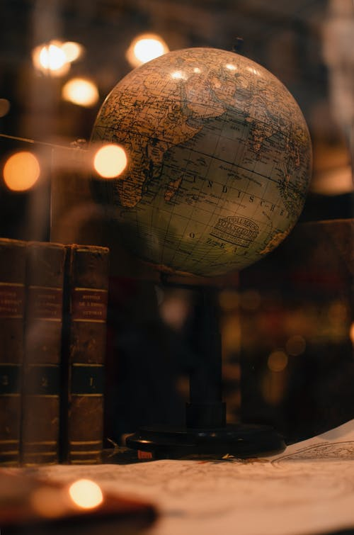 Old Books and globe in Libaray