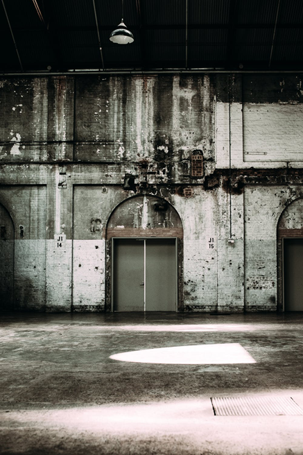 Big empty room in an old factory