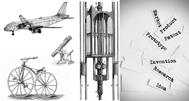 Airplane, electric elevator, crank-pedal bicycle & telescopes drawings from 1871.